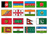 Hand drawn flags of West South Asia.