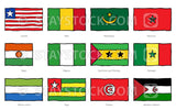 Hand drawn flags of West and North Africa.