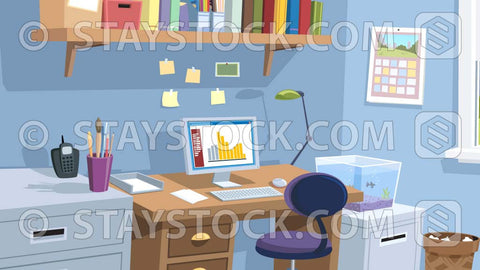 A cartoon scene of a home office.