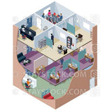 Isometric view looking through a cutaway of the walls showing different levels in an office building.