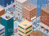 Isometric busy inner city scene.