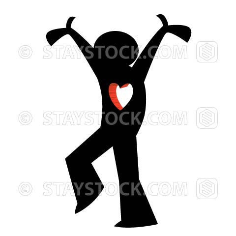 A black figure has a love heart shape through chest walking with arms raised.