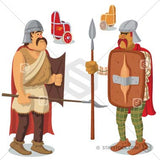 Iron Age warriors cartoon illustration.