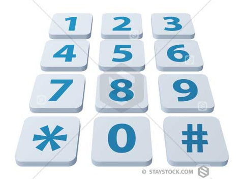 A number keypad in perspective.