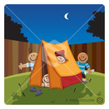 Kids camping in backyard cartoon.