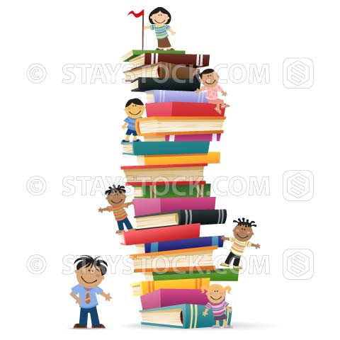 Cartoon kids climb a tall stack of reading list book while the teacher looks on.