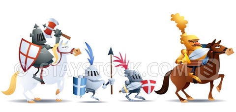 Four cartoon knights ready to charge into battle.