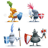 Cartoon vector of four little Knights.