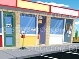 Cartoon local shopfront background scene.