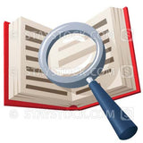 A magnifying glass over the top of an open book.