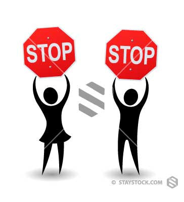 Man And Woman Stop Signs