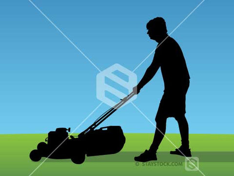 Man Mowing Silhouette