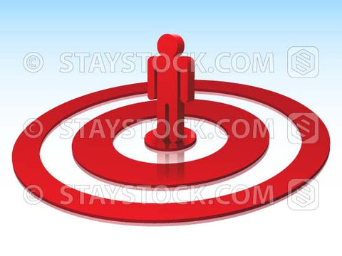 A 3D figure person standing on the bullseye of a red target.