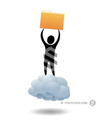 Man Riding Cloud With Files