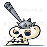 A cartoon medieval skull with a mace weapon stuck in the top.
