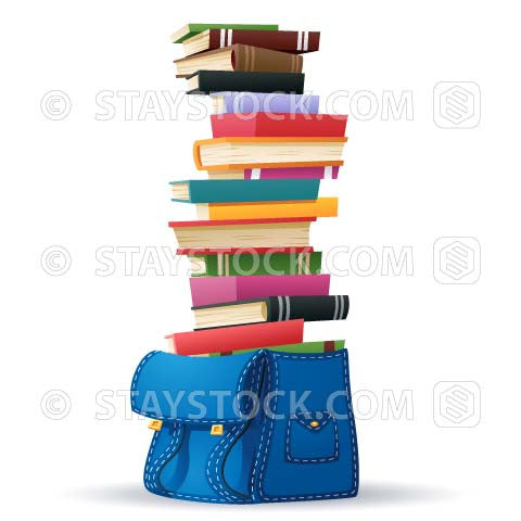 A cartoon of a tall stack of book inside a school bag.