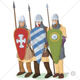 Illustration of three norman soldiers ready for battle.