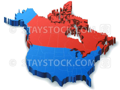 Map Of Canada 3d.North America 3d Map