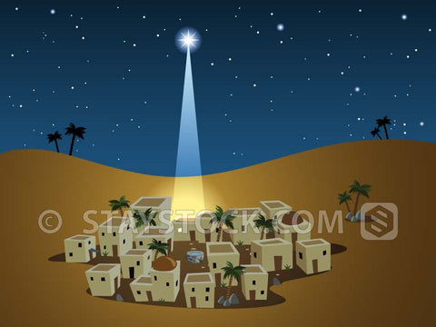A cartoon scene of the star over the Little Town of Bethlehem.