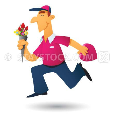 A cartoon florist running to deliver flowers and a love heart chocolate box.