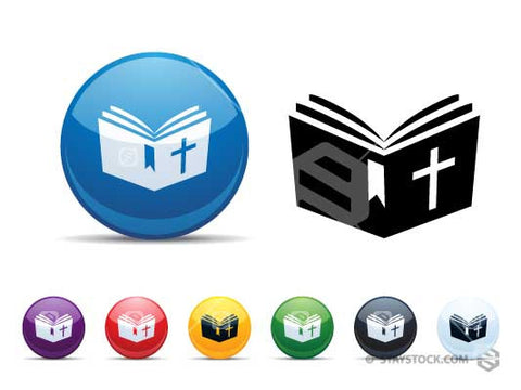 Open Bible Plastic Button Icon