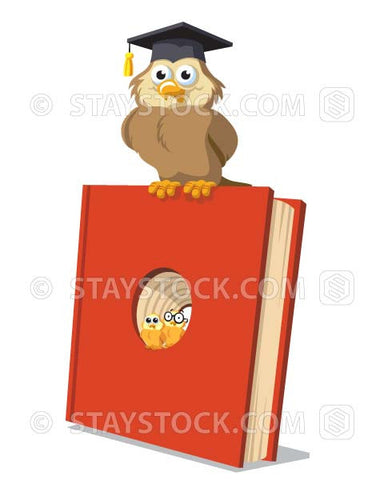 A cartoon owl sits on top of a large red book while some owl chicks sit in a hole in the book.
