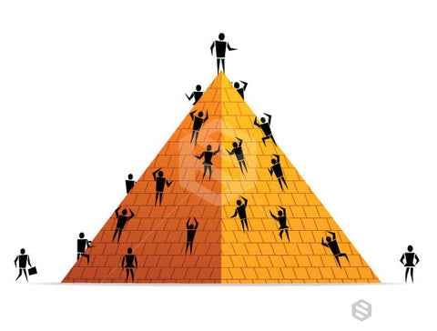 People Climb Pyramid