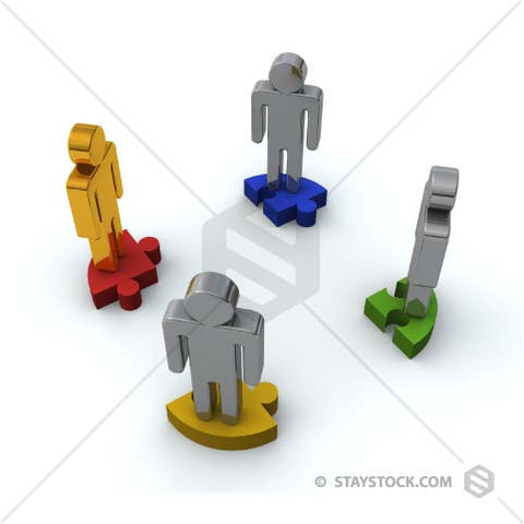 Four people standing on jigsaw puzzle pieces.