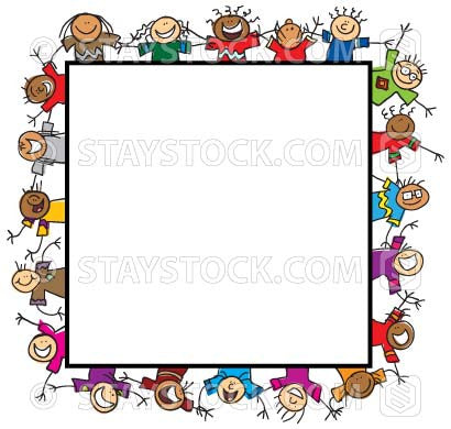 Some cartoon children make up the four sides of a picture border.