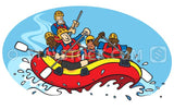 A cartoon of a bunch of people whitewater rafting.