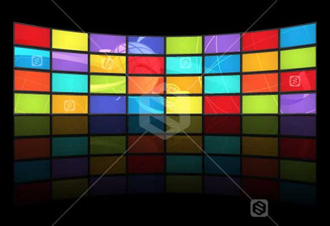 A video wall featuring multiple brightly coloured screens on a black background.