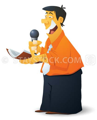 A cartoon man gives a speech using a microphone while reading from a book.