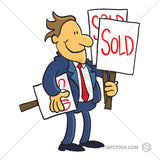 A cartoon Real Estate Agent holding many sold signs.