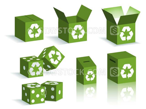 Recycling symbols on various different boxes and dice and voting or suggestion boxes.