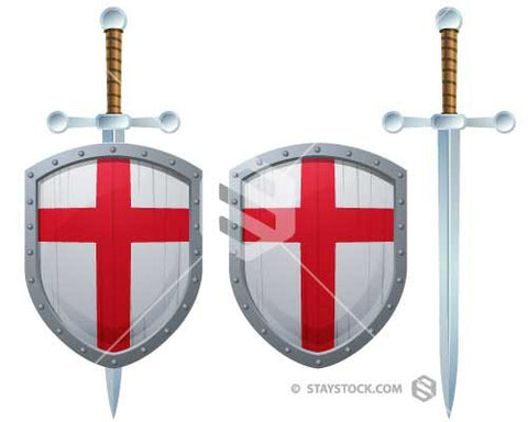 Red Cross Shield Sword