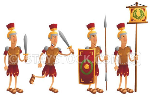 Cartoon Roman soldiers carrying flags, swords and shields.