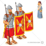 Two Roman soldiers standard guard while a woman passes by.