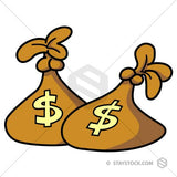 Cartoon sacks of money clip art.