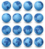 A collection of blue earth globes in 16 rotated views against a white background.