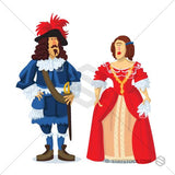 A couple from the Stuart period in costumes.