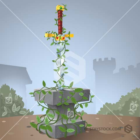 Illustration of the Sword in Stone covered in vines.