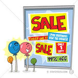 A family of lollypop suckers are excited by the sale signs on a shopfront window.