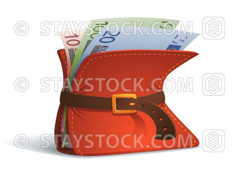 A cartoon wallet with Euro notes is constrained by a belt to tighten the budget.