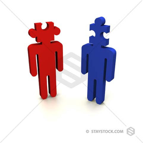 Two people with jigsaw puzzle pieces for heads.