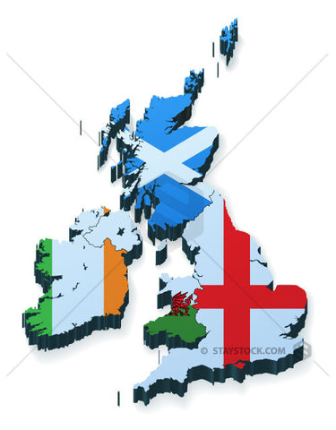 UK Flag 3D Map