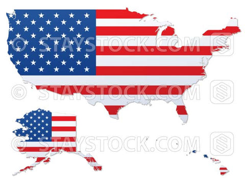 USA flag mapped on to a USA map.