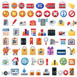 A large collection of icons including arrows, sale signs, computers, locks, gifts, shopping carts, communication technologies and finance symbols.
