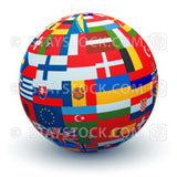 A sphere ball made from combining different European Flags made by mstay.
