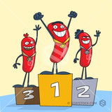 Some real weiner athletes win a podium finish.