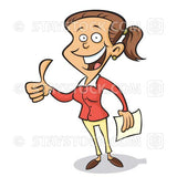 A cartoon woman give an enthusiastic thumbs up.